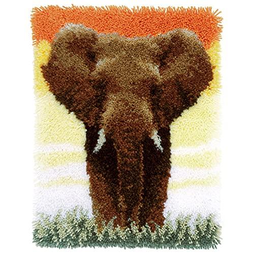YOJOLO Latch Hook Rug Kit for Adults Kids DIY Elephant Pre-Printed Pattern Carpet Cushion Tapestry Rug Making Kits Handcraft Needlework Arts Craft Home Decor,52×38cm