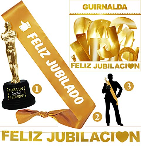 Inedit Festa Jubilado Feliz Fiesta Jubilación - Guirnalda - Banda Honorífica y Figura Trofeo Gran Hombre