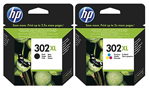 HP - Cartuccia d'inchiostro originale F6U66AE per HP 302, HP302 per HP Envy 5540, ca. 190 pagine / 5%, colore: Nero (10) 2x XL Tintenpatrone - Black + Color