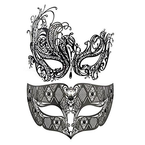 Coddsmz Máscara de Partido de la Mascarada del Partido Máscaras de Metal Máscara Veneciana del Traje de Halloween Máscara de Mardi Gras (Black Swan + Black)