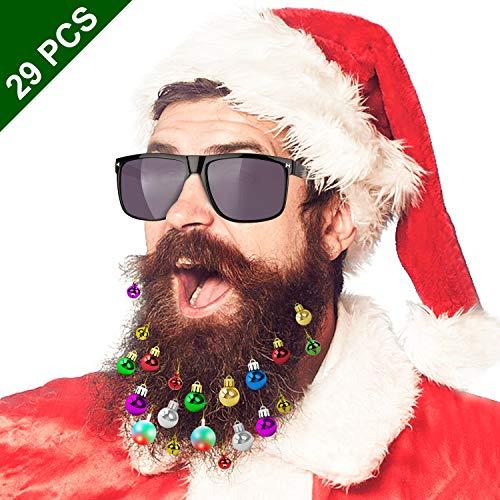 GIKPAL Weihnachten Bart Haarspange Bartkugeln gehören Leuchten Kugeln Jingle Bells und Sonnenbrillen für den Weihnachtsfeier Kostüm