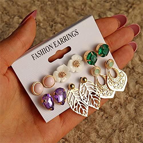 FEARRIN Pendientes Declaración de Moda Conjunto de Pendientes Mixtos Vintage para Mujer Flores Hojas Piedra Declaración Bohemia Colgar Brincos Jewelry LNI1338