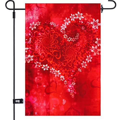 Aozer Gartenflagge 30,5 x 45,7 cm Valentinstag Gartenflagge mit 1 Gummistopper und 1 transparenter Windschutz-Clip für Valentinstag Zuhause Garten Hochzeit Party Dekoration Color 3