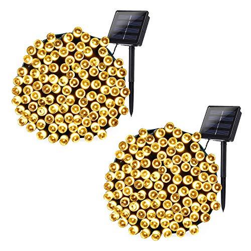 [2 Stück] Solar Lichterkette Weihnachtsbeleuchtung außen, 20M 200 LED Solar Lichterkette Aussen Wasserdichte, 8 Modi Solar Weihnachtsbaum Lichterkette Deko für Garten, Terrasse, Hochzeit (Warmweiß)
