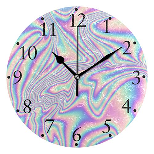 JUAMA Abstract Holographic Art Wall Clocks Home Wall Decor Round Clock Digital Modern Battery Operated Non Ticking Silent Wall Clock Wall Large Decoration Clock