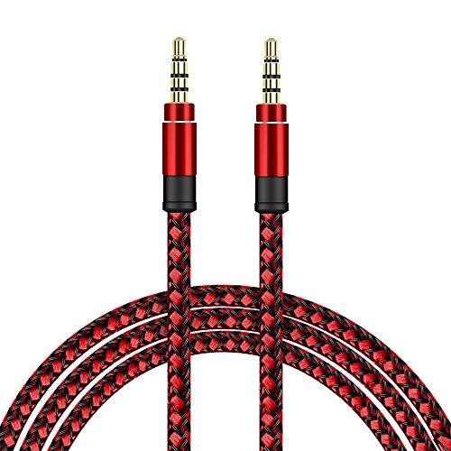 SDTEK Cable de Audio Auxiliar Trenzado Rojo Extra Largo de 3 Metros...