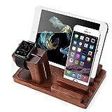 XPhonew Rosewood multifunzione ricarica Supporto per il caricamento del basamento per iPhone XS MAX XR X 8 7 6 6S Plus Apple Watch 2 3 4 / iWatch 38mm e 42mm tutti i modelli iPad Smartphones Tablets