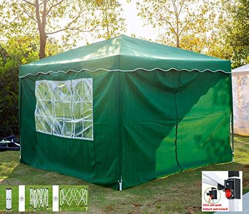 Lucn Pop Up Gazebo Marquee Tent Waterproof with 4 Sides Panels UV Protection party tent for Garden Camping (3m x 3m Green)