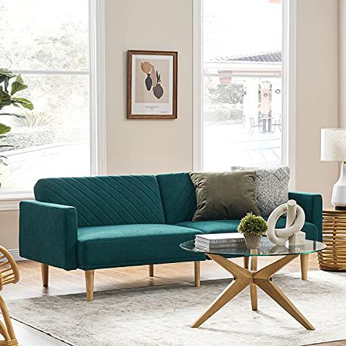 "Mopio Chloe Futon Sofa Bed, Convertible Sleeper Sofa with Tapered Legs, 77.5"" W, Small Splitback Sofa for Living Room, Deep Teal Velvet"