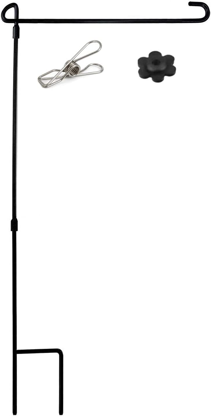 MIYA Garden Flag Stand - Premium Garden Flag Pole Holder Stand Metal Powder-Coated Weather-Proof Paint - Garden Flag Stake with Stopper and Anti-Wind Clip for Garden Flags