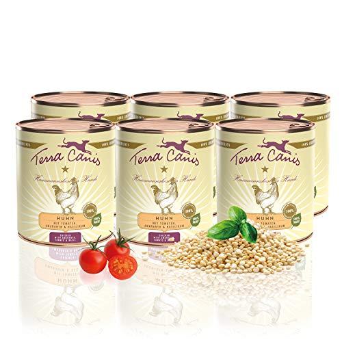 Terra Canis Classic Nassfutter I Reichhaltiges & gesundes Premium Hundefutter in echter Lebensmittelqualität mit Huhn, Tomate, Amaranth & Basilikum I 6 x 800g, allergenarm, getreidearm & glutenfrei