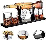 FXXJ 750ML Creativo Whisky Decanter, Botella de la Forma única Ametralladora con Tallado Asiento de Acero sin Plomo Vaso de Licor Scotch Borbón, para los Amantes del Vino Inicio,B