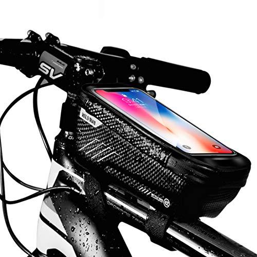 Fahrrad Rahmentasche, Wasserdicht Fahrradtasche Lenkertasche Handyhalterung Handyhalter Handytasche Oberrohrtasche für iPhone 11 Max Pro XS MAX XR X 8 7 6S 6 Plus Samsung Smartphones unter 6.2 Zoll