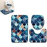 Hilai 3pcs / Set Fish Creativo básculas de baño Alfombra Mats Set Antideslizante Alfombra de baño WC Alfombrillas absorbentes Lavables Mats Alfombras de baño Contorno Mat y Cubierta Tapa(Azul Oscuro)