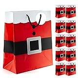 Prextex Santa Clause Suit Medium Gift Bags Christmas Santa Gift Bags - 12 Piece Pack