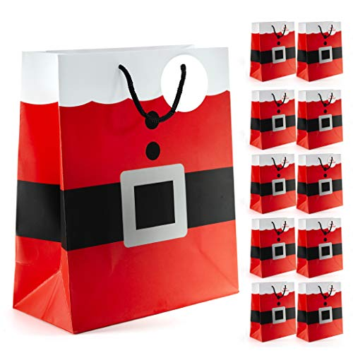 Prextex Santa Clause Suit Medium Gift Bags Christmas Santa Gift Bags - 12 Piece Pack