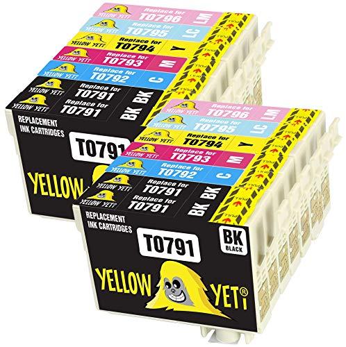 Yellow Yeti Ersatz für Epson T0791 T0792 T0793 T0794 T0795 T0796 14 Druckerpatronen kompatibel für Epson Stylus Photo 1500W 1400 P50 PX720WD PX700W PX800FW PX810FW PX820FWD PX830FWD PX650 PX710W