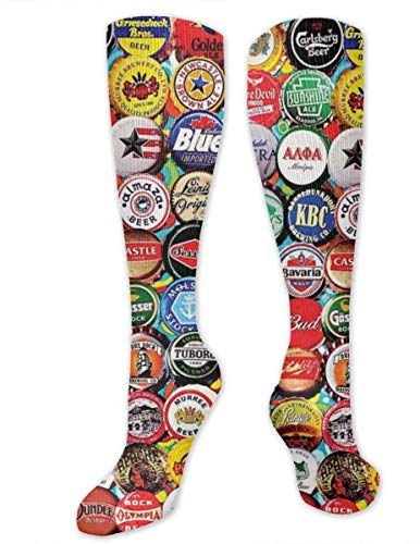 Nifdhkw Beer Bottle Caps Men's/Women's Sensitive Feet Wide Fit Crew Socks and Cotton Crew Athletic Sock