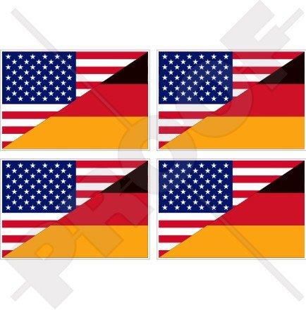 USA Vereinigte Staaten von Amerika & Deutschland Flagge, American & Deutsch, Deutschland 5,1cm (50mm) Vinyl bumper-helmet Sticker, Aufkleber X4