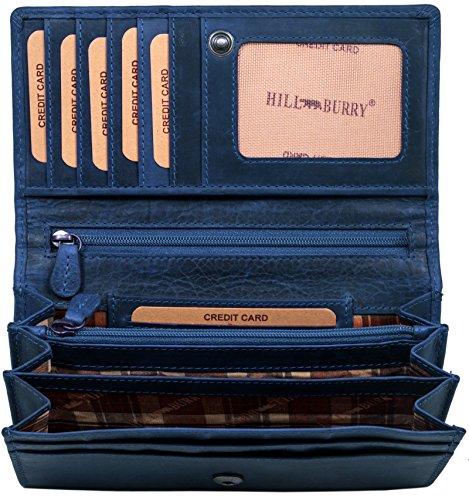 Hill Burry hochwertige Geldbörse | aus weichem Vintage Leder - Langes Portemonnaie - Kreditkartenetui - RFID (Blau)