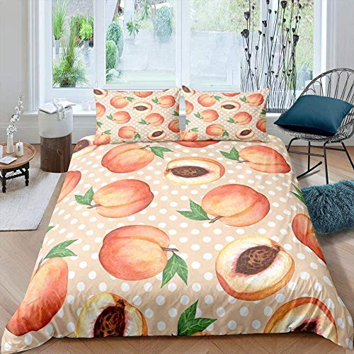 Rvvaceo Duvet Cover Set Microfiber Durable Fade Resistant Fabric-Include 1 Quilt Cover+2 Pillowcases-Soft Hypoallergenic, Easy Care Quilt Cover-King (240 X 220 Cm) Modern Simple Pink Peach Fruit Whit