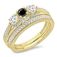 1.00カラット(CTW14Kゴールドブラック&ホワイトダイヤモンドレディースブライダル3ストーン婚約リングバンドセット1CT