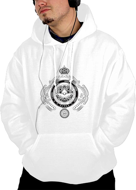 WUJIU Lion Cool Men Hooded Sweashirt Graphic Jacket Sweatshirt with Pockets