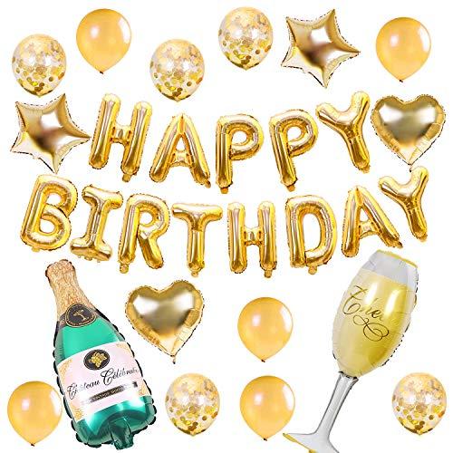 Termichy Globos Metalicos Globos de Cumpleaños de 30 Piezas con Botella de Cerveza y Copa de Vino