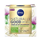 NIVEA Naturally Good Crema de Día Antiarrugas (1 x 50 ml), crema reafirmante con ingredientes naturales, crema antiedad para todo tipo de piel