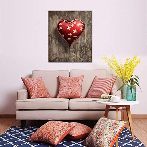 GUDOJK decoratief schilderij hartvormige rode ballon print wandafbeeldingen canvas schilderij voor woonkamer muurkunst decoratie posters en afdrukken 50x70cm(20x28inch)