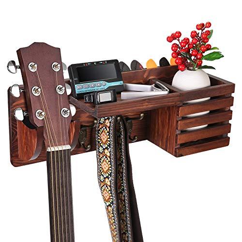 Asmuse Soporte Pared Guitarra Madera Colgador Ganchos de la Pared para Ukelele, Violín, Bajo con Soporte para Objetos,3 Ganchos, Compartimento de Almacenamiento