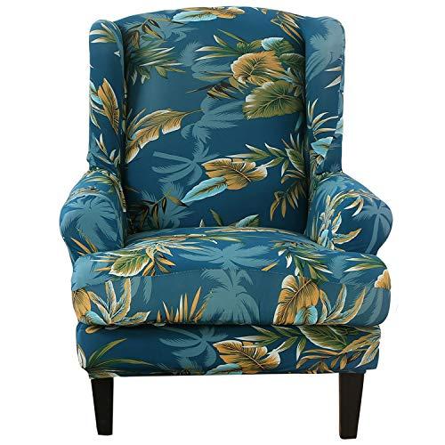 SHANNA Stretch Sofabezug, Sesselbezug Elastischer Sofabezug 2 Stücke Ohrensessel Bezug Sofaüberwurf Weiches Elasthan - Grünes Blatt