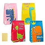 HC 20 bolsas de regalo de papel de colores con 24 pegatinas, pequeñas dinosaurios, bolsas de regalo para regalos, bolsas de regalo, fiestas infantiles