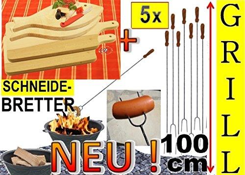5 x Steakteller Grillbrett Holz Grill-Set+ 4 x große Grillspiesse, 100 cm lang, lange Spiesse Gabel-Spieß + massive Schneidebretter, Servierplatte Fisch 35 x 16 cm, Grillbrett Servierbrett für Wurst, Gemüse, Steak / Fleischplatte, Bruschetta, Raclette, Brotzeitbrett mit Griff, Platzteller, Frühstücksbrett, Bayerisches Brotzeitbrettl, massives Schneidbrett, Anrichtebrett, Frühstücksbrett, Brotzeitbretter, Steakteller , Schinkenteller von BTV, Holz,rustikal
