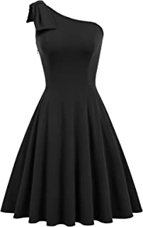 Women's Bow One Shoulder Dress with Pockets A-line Cocktail Party Dress