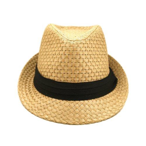 Premium Classic Tan Fedora Straw Hat with Black Band