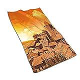 AOOEDM Toallas de mano, gran paisaje italiano de montaña de Toscana, amanecer o atardecer, estampado de patrón, suave toalla de baño altamente absorbente para baño, hotel, gimnasio y spa 27.5 'x