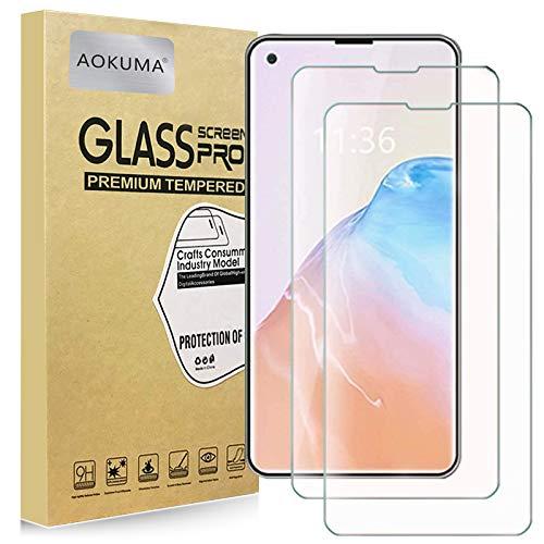 AOKUMA - Protector de pantalla de cristal templado para Cubot X30, 2 unidades, protector de pantalla de calidad superior, amigable con la funda, cómodo borde redondo, irrompible, a prueba de golpes