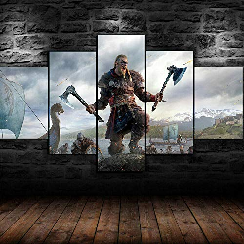 IIIUHU Cuadro sobre Impresión Lienzo 5 Piezas -Mural Moderno 5 Piezas,Valhalla Ivar Dormitorios Decoración para El Hogar -No Tejido Lienzo Impresión- Modular Poster Mural-Listo para Colgar