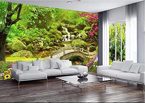 Custom Mural 3D Photo 3D Wallpaper Bridge Cranes and Flowers Home Decor Painting 3D Wall Murals Wallpaper Living Room-200x140cm