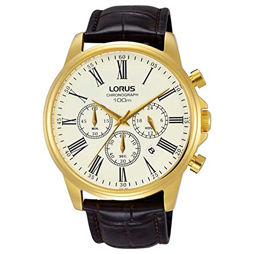 Lorus Herren Chronograph Quarz Uhr mit Leder Armband RT396FX9