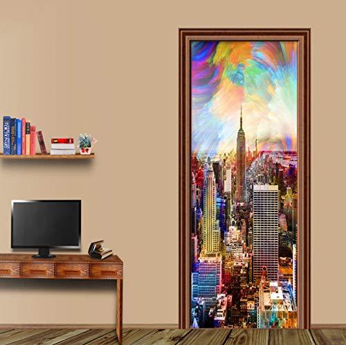 European Style Retro 3D Murals Wallpaper Color City Building New York Door Sticker Living Room Cafe Backdrop Wall Vinyl Stickers