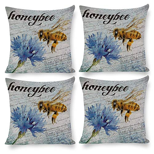 Juego de 4 fundas de almohada de 18 x 18 cm, modernas fundas de almohada para exteriores, estilo vintage, acuarela, diseño floral, color azul suave, para habitación, dormitorio, sofá, cama, coche, cama, coche