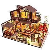 Caste Häuser Für Minipuppen, Puppenhaus Kit Holz DIY Handhandliche Miniatur Villa Haus Kinder Montage Mini Haus Raumdekoration 3D-Holz Miniatur Haus Mit...