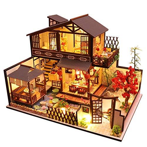 Caste Häuser Für Minipuppen, Puppenhaus Kit Holz DIY Handhandliche Miniatur Villa Haus Kinder Montage Mini Haus Raumdekoration 3D-Holz Miniatur Haus Mit Musikbewegung Licht Für Kinder Und Eltern
