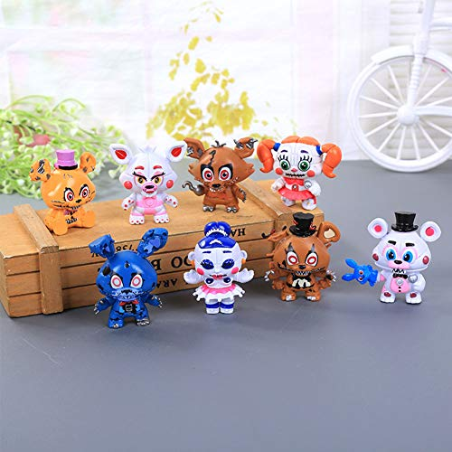 YLEAFUN Inspired by Five Nights FNAF Figures Mini Cute Set 6 pcs, 2.4 inches