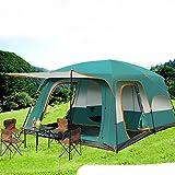 Tienda de campaña familiar doble capas impermeable 4-8 personas dos dormitorios uno sala de estar tienda-verde