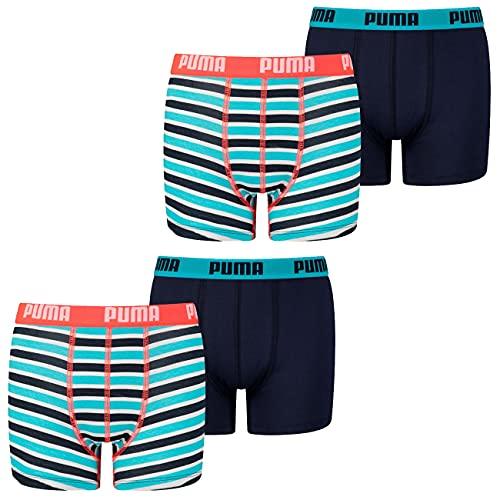 PUMA Jungen Boxershort Basic Boxer Printed Stripe 4er 6er 8er Multipack 128 140 152 164 176 Uni Gestreift 95% Baumwolle ohne Eingriff, Größe:170-176, Packgröße:4 Stück, Farbe:Fluo Red/Blue (004)