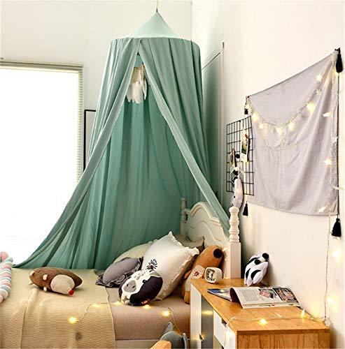 Betthimmel Babybett, Kinder Moskitonetz Spitze Baldachin, Mädchen Prinzessin Baumwolle Bettvorhang für Spiel Lesen Schlafzimmer Ankleidezimmer (Grün)