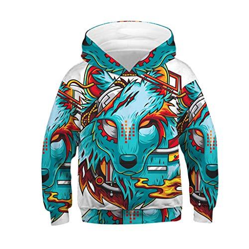 WOCACHI Jungen Mädchen 3D Hoodies, Unisex Teen Little Big Kids Digital Galaxy Fleece Gefüttert Kapuzenpullover Pullover, Zweireiher, #17 - Blau
